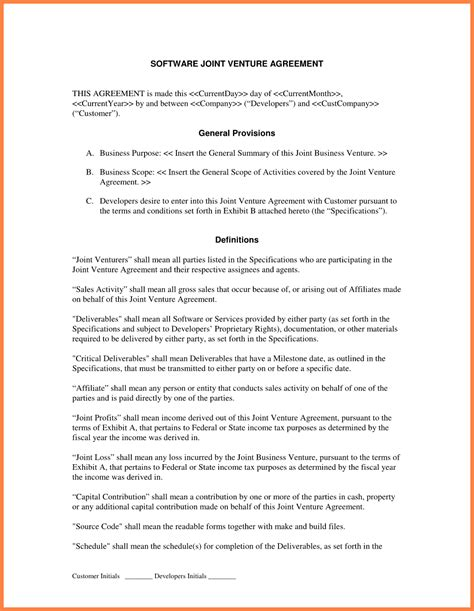 10 sle joint venture agreement template purchase