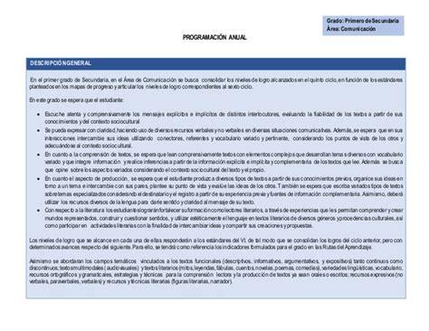 programacion anual de area de matematica con jec plan anual 2015 del 193 rea de comunicaci 211 n jec
