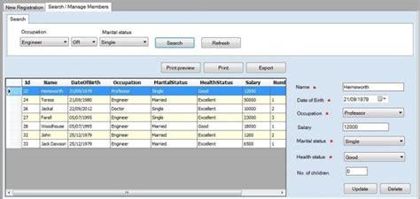 layout design in vb net social club sle application using winforms c net