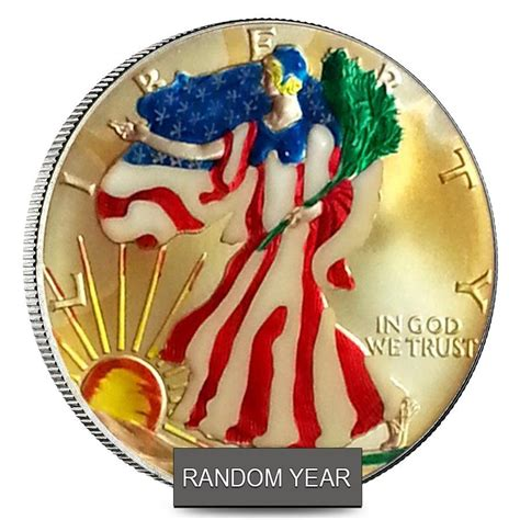 1 Oz Silver American Eagle Colorized - 1 oz silver american eagle 1 colorized coin random year