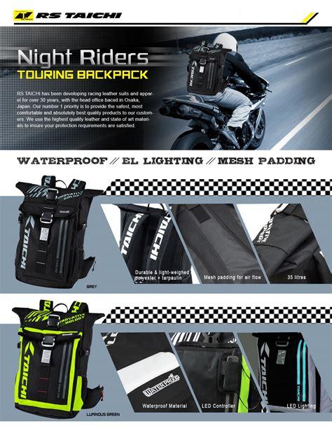 Tas Ransel Rs Taichi Backpack original japan rs taichi riders motor touring sport backpack bag waterproof with led light
