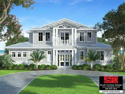 south florida designs waterside 2 story coastal house plan