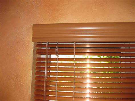 Wood Mini Blinds Metal Mini Blinds With Faux Wood Blind Valances Eclectic