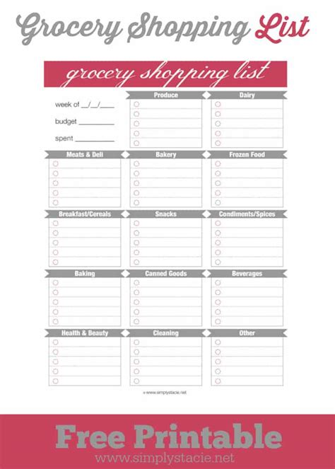 organized grocery list template free grocery shopping list printable simply stacie
