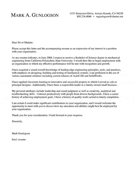 Motivation Letter For Engineer Mechanical Engineer Cover Letter New Grad Entry Level