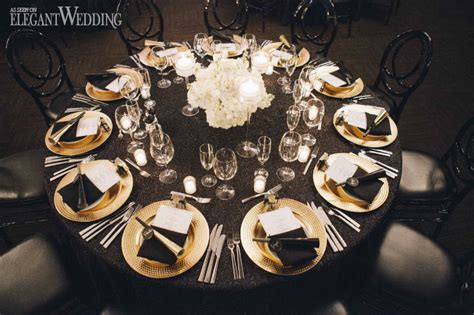 black and gold table setting black and gold wedding inspiration elegantwedding ca