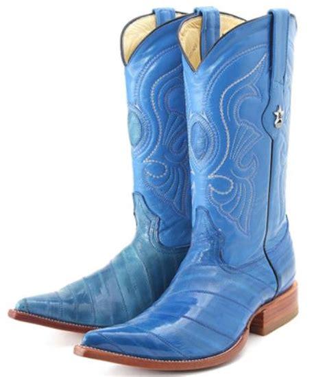 mens blue cowboy boots eel leather blue los altos cowboy boots western