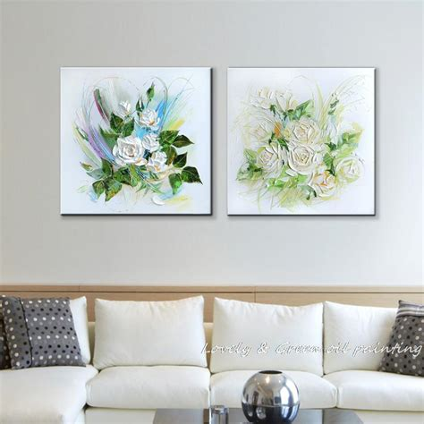 canvas home decor thick mechanism white flowers decoration oil painting on
