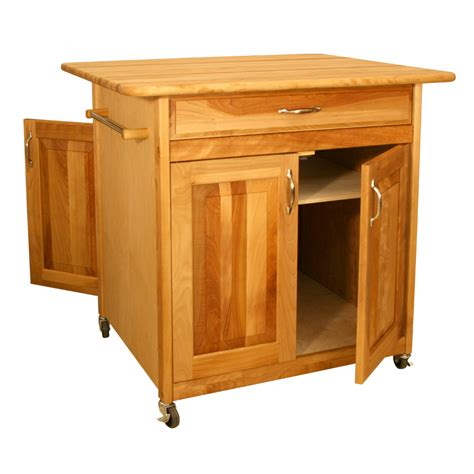 butcher block portable kitchen island catskill s big work center cabinet doors on both sides