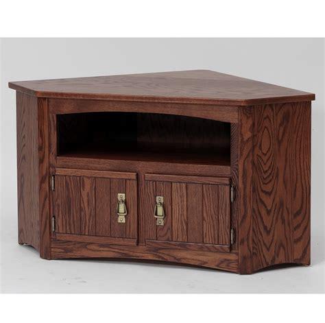 Solid Oak Mission Style Corner TV Stand/Cabinet   41