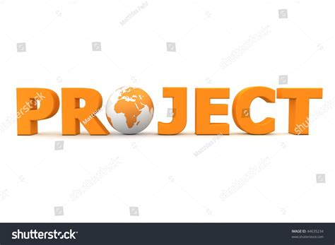 Word Project Orange Word Project 3d Globe Replacing Stock Illustration