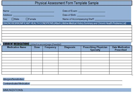 physical assessment card template get physical assessment form template sle project