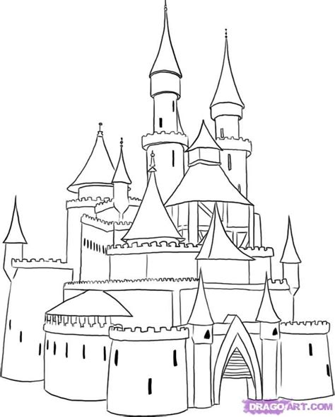 medieval castle coloring page castle drawings step by step google search art lesson