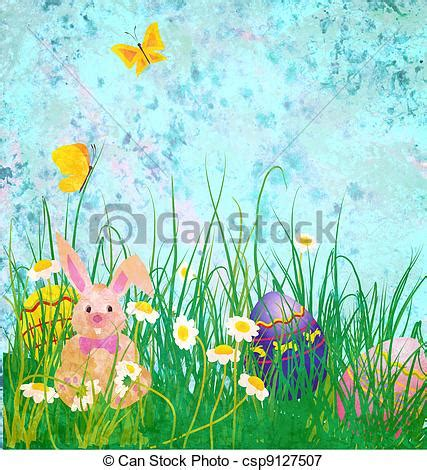 grunge paper floral background stock illustration illustration 19511049 easter rabbit with daisies flowers and butterfly on grunge paper blue background