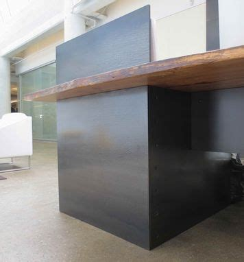 Metal Reception Desk Made Metal Modern Industrial Plate Steel Reception Desk With Maple Live Edge Slab Top