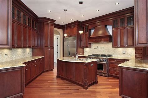 mahogany kitchen cabinet mahogany cabinets light granite hardwood floor i love