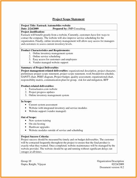 5 Contract Statement Of Work Template Treee Templatesz234 Managed Services Sow Template