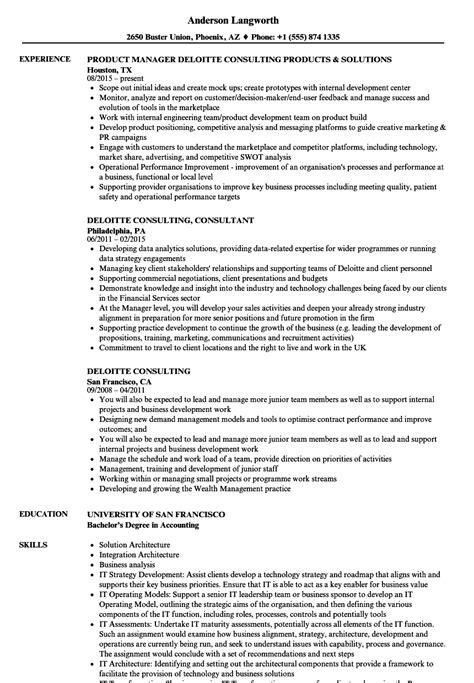 deloitte consulting resume sles velvet