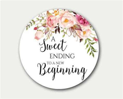printable stickers wedding wedding favor tag a sweet ending to a new beginning
