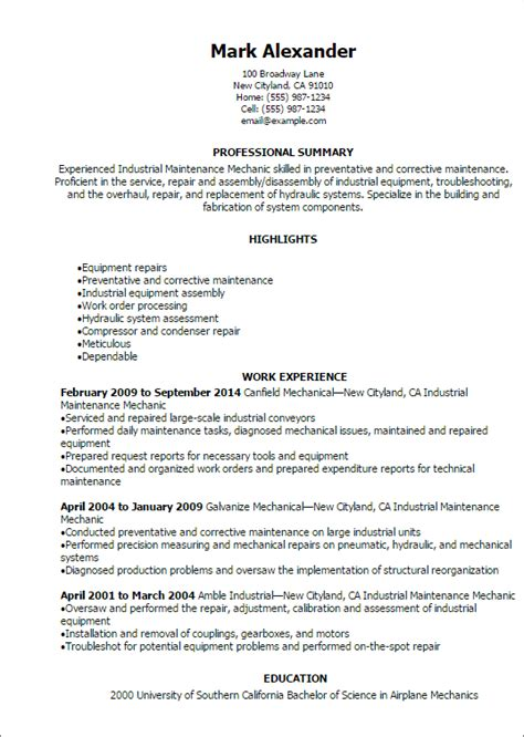 Maintenance Resume Template by 1 Industrial Maintenance Mechanic Resume Templates Try