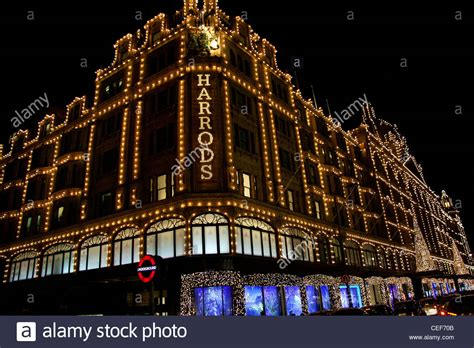 harrods building fully lit with christmas lights stock
