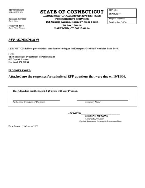 Microsoft Word Rfp Addendum 1 Addendum To Contract Template Word