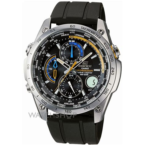 mens casio edifice wave ceptor alarm chronograph radio controlled  eqw  aver