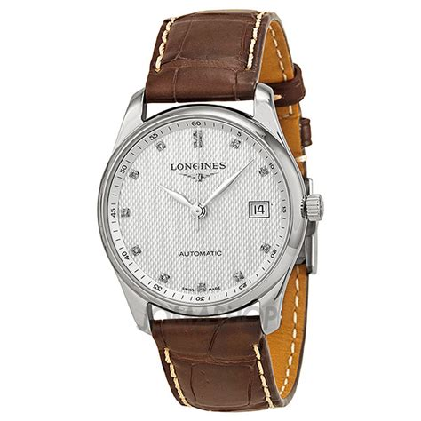 longines master austomatic silver brown leather s