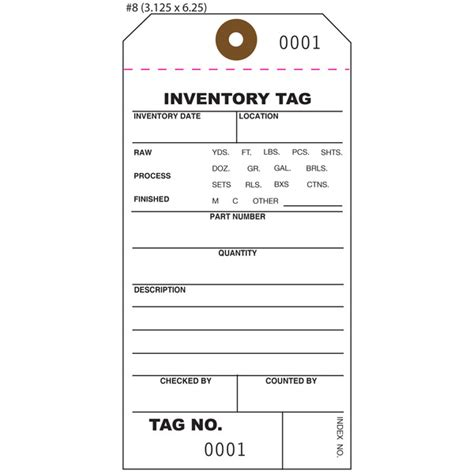 Custom Inventory Hang Tags Numbered Part Asset St Louis Tag Inventory Tag Template