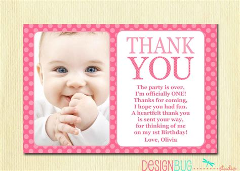 Thank You Note For Birthday Gift Card First Birthday Matching Thank You Card 4x6 The Big One Diy