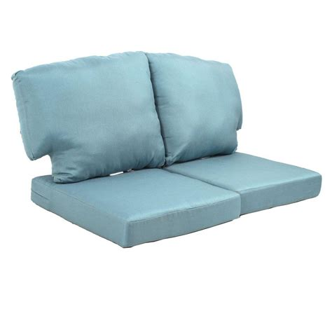 outdoor loveseat cushion martha stewart living charlottetown washed blue