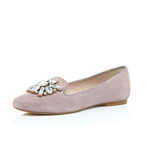 river island flat shoes river island pink suede embellished ballerina flats in