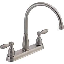 delta two handle kitchen faucet delta foundations 2 handle standard kitchen faucet in stainless 21987lf ss the home depot