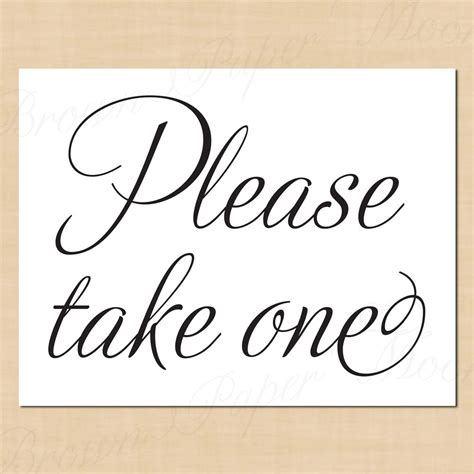 Take One Template take one printable simply signs 11 x 8 5