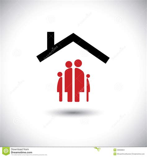 Mother Daughter House Plans Happy Family Amp Home Icon Concept Vector Stock Vector