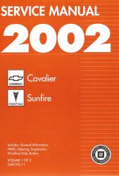 car repair manual download 2002 chevrolet cavalier windshield wipe control 2002 chevy cavalier and pontiac sunfire factory service manual