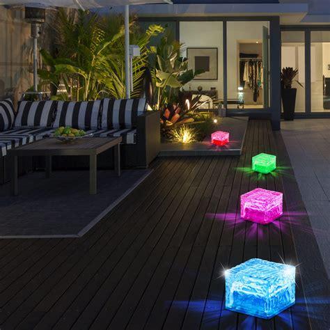 terrassenbeleuchtung solar 4er set rgb led solarlen in eisw 252 rfelform zur