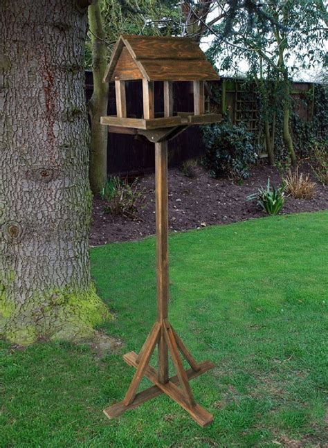 deluxe free standing wooden garden outdoor bird feeding
