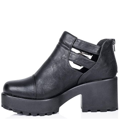 biko cleated sole cut out platform ankle boots black