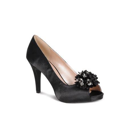 lunar flr117 black satin shoe with bead trim lunar from