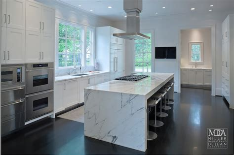 Vent Hood Over Kitchen Island by Waterfall Island Modern Kitchen Mdd Architects