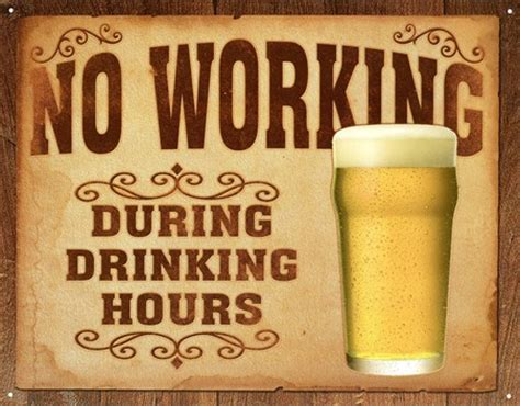 about quot drinking and beer quot metal painting vintage tin no working during drinking hours rules of the bar tin