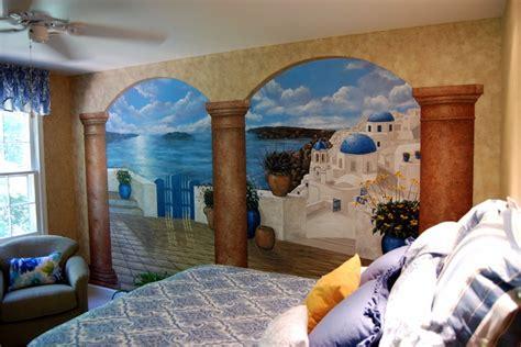 Wall Murals Greece Santorini Greece Mural In A Bedroom By Tom Of Mural