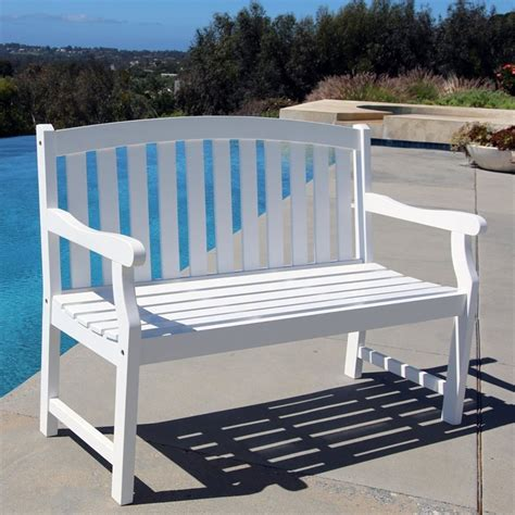 white bench outdoor vifah bradley outdoor bench in white ebay