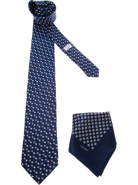 lanvin nut print tie and pocket square set in blue for