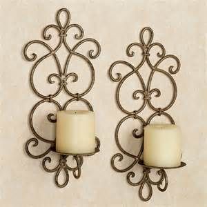 Iron Wall Sconce Antique Gold Iron Wall Sconce Pair