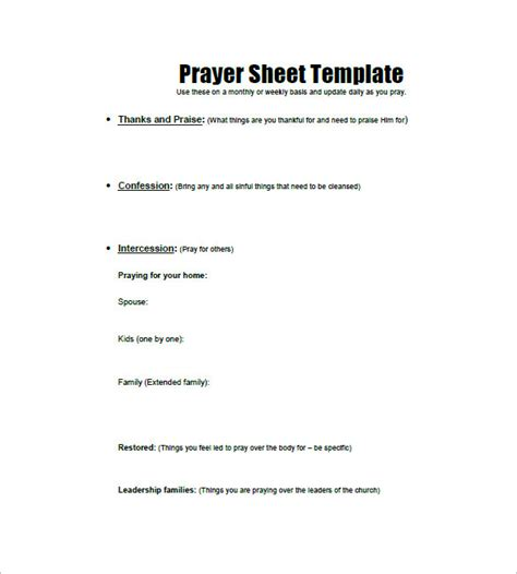 prayer template prayer list template 8 free word excel pdf format