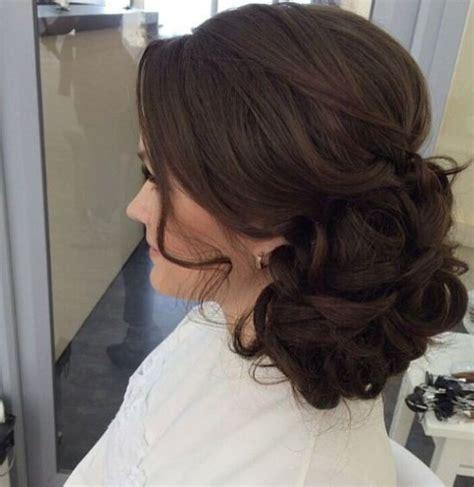 mahogany side bun hair curls soft side bun up style soft upstyles pinterest