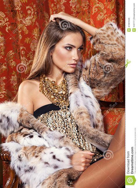 fashion model posing fur coat luxury interior mo stock
