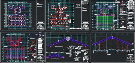 dining hallsteel roof truss dwg detail  autocad